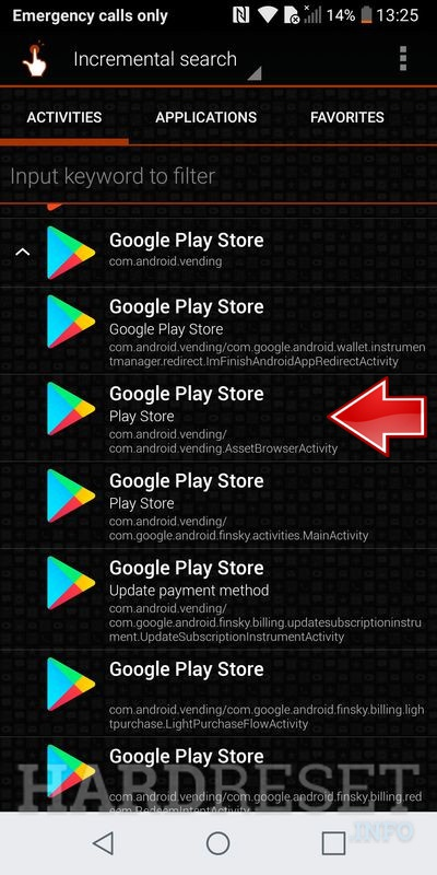LG Q6 select from drop-down list Google Play Store with com.android.vending.AssetBrowserActivity
