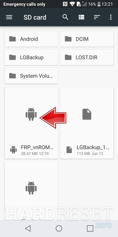 LG Q6 select first application to install FRP_vnROM_HardReset.info.apk