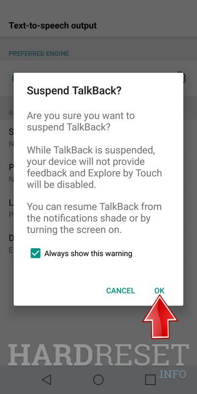 LG Q6 confirm tunr off talkback by ok button