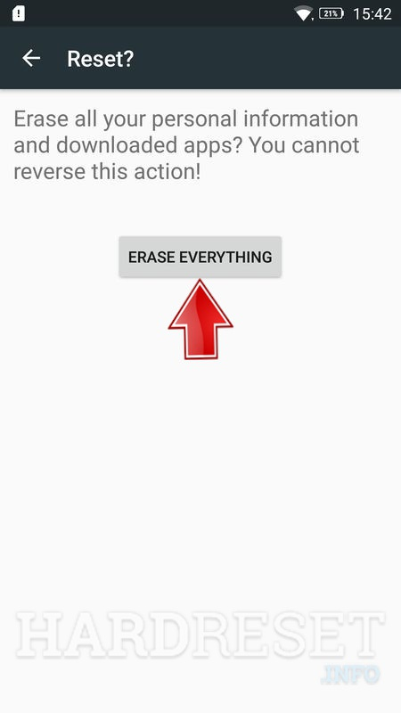 Lenovo K6 tap erase everything button