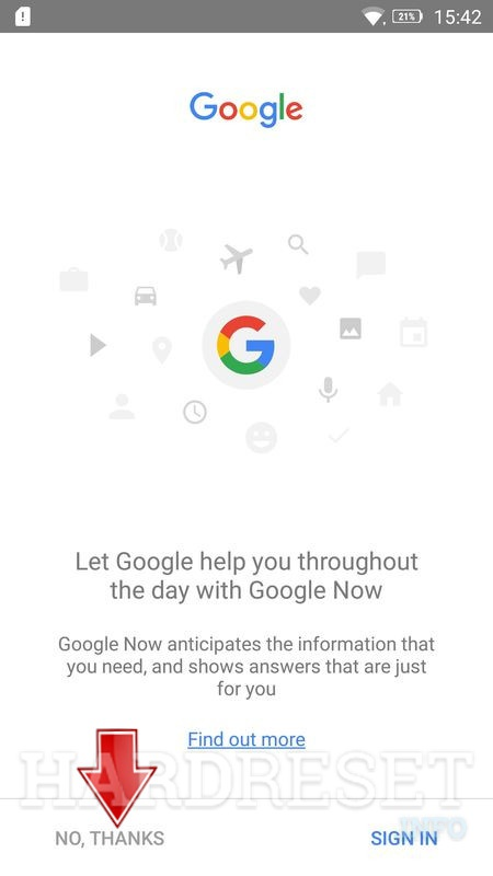 Lenovo K6 google search open tap no thanks button