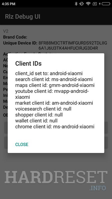 Codes XIAOMI Redmi Y2 - HardReset info