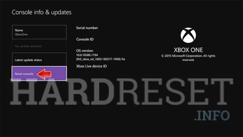 Hard Reset MICROSOFT Xbox One X - HardReset info