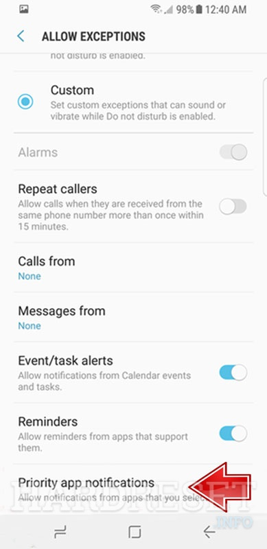 Do Not Disturb Mode SAMSUNG G950U Galaxy S8 MSM8998