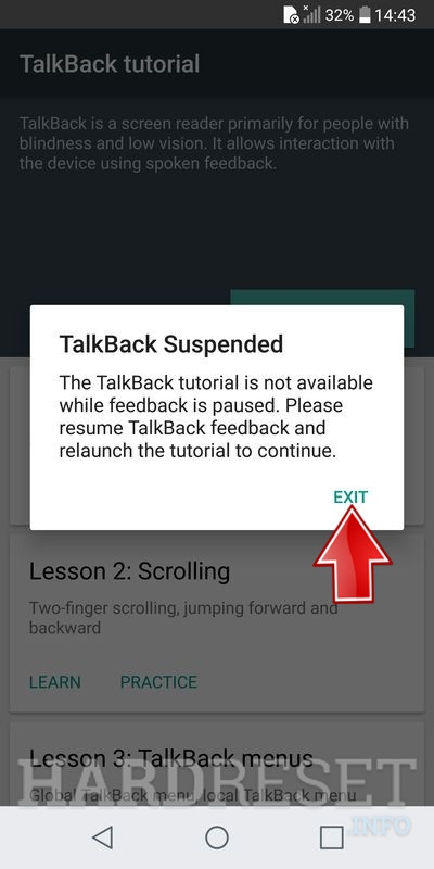 after restart talkback need turn off again by volume buttons