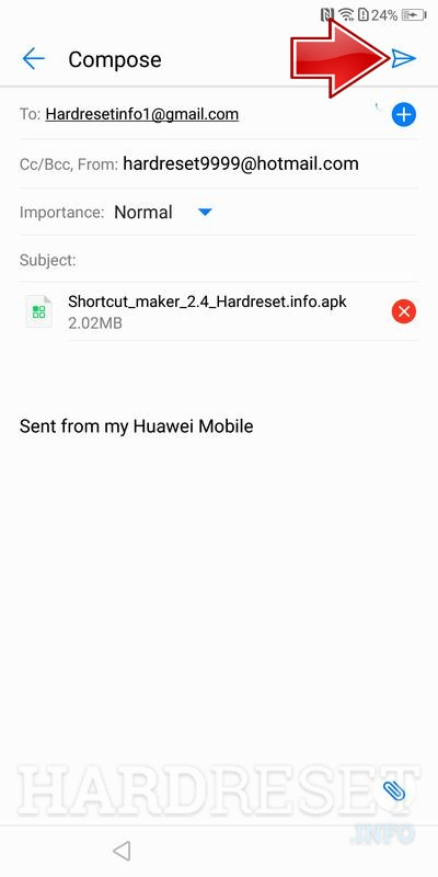 Huawei P Smart tap send button