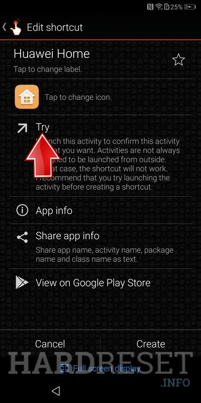 Huawei P Smart try button