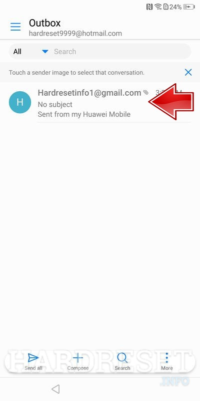 Huawei P Smart select email that send before