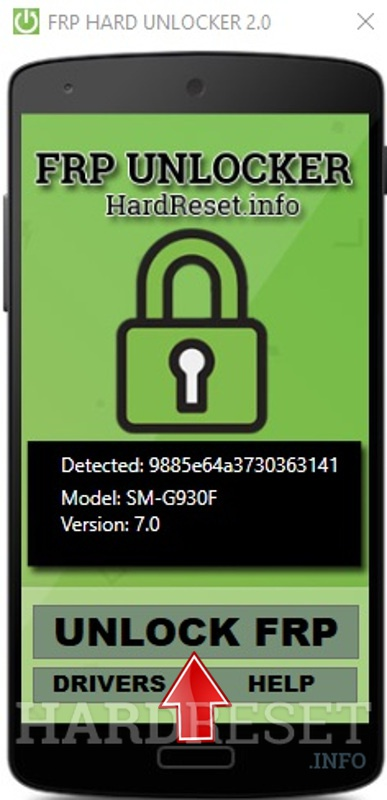 FRP Unlocker by hardreset.info device detected unlock button tap