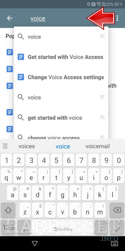 Huawei P Smart voice in search filed