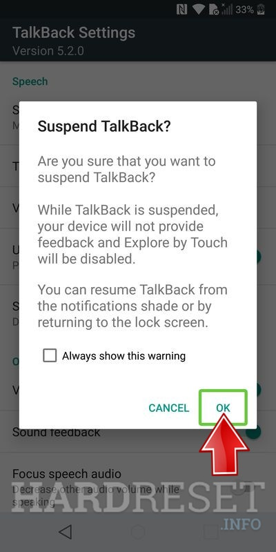 talkback suspended info window