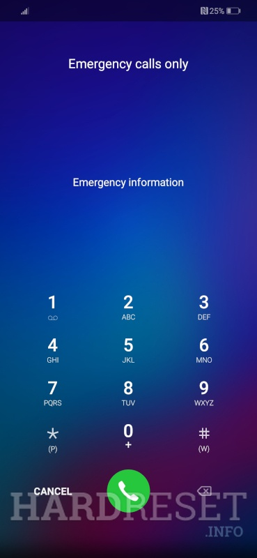 Huawei Nova 3 emergency call menu