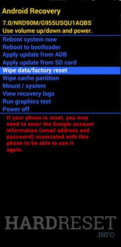 Wipe data su ALCATEL 7