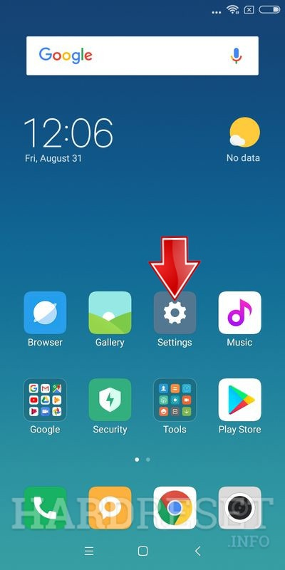 Xiaomi backup to mi cloud tap settings button