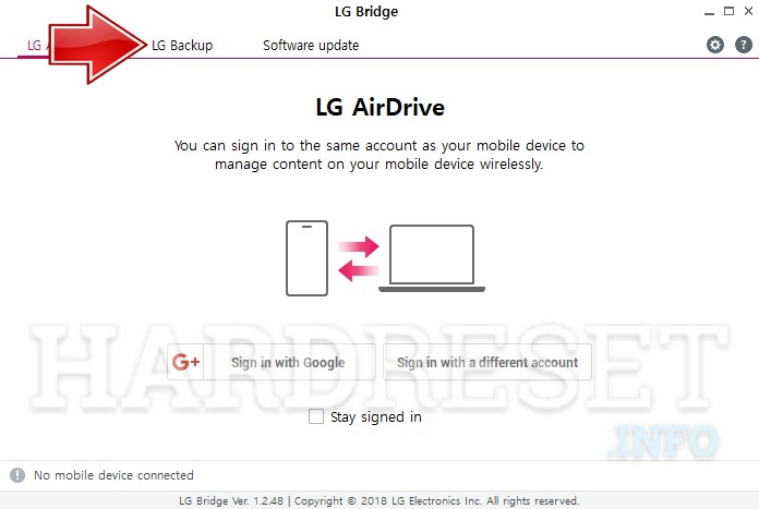 How to backup data on LG Fortune M153 with LG Bridge
