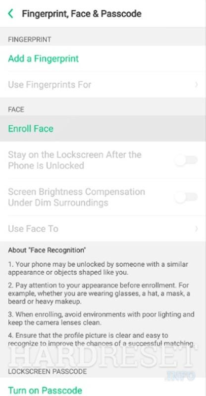 Add Face Unlock REALME 2 Pro - HardReset info