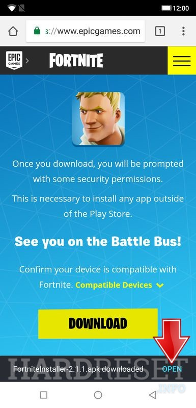Fortnite game installation procedure choose open button to start a installation