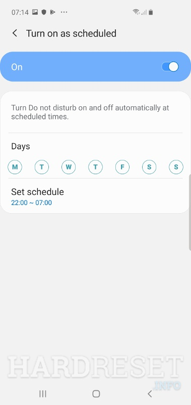 Turn on as scheduled SAMSUNG Galaxy A20