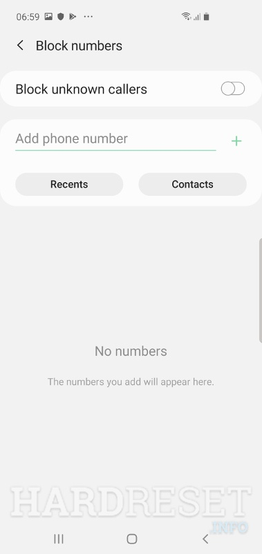 Block numbers SAMSUNG Galaxy A10