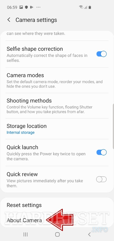 Camera settings SAMSUNG Galaxy A50
