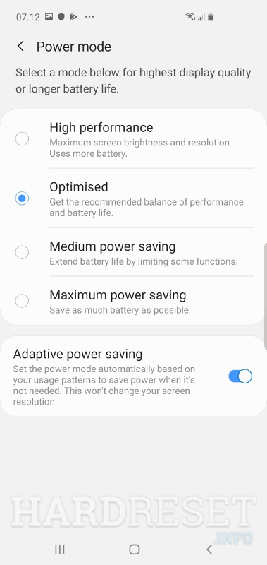 Power mode SAMSUNG Galaxy S10 5G Exynos