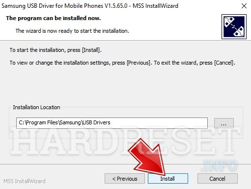 Samsung drivers installer opened, press install button
