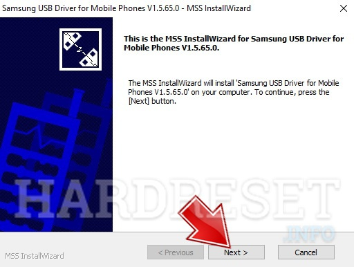 Samsung drivers installer opened, tap next button