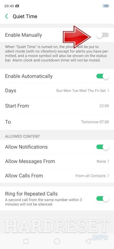 Do Not Disturb Mode OPPO A3s - HardReset info