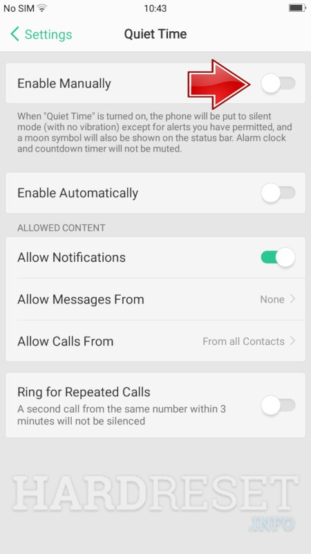 Do Not Disturb Mode OPPO A83 - HardReset info