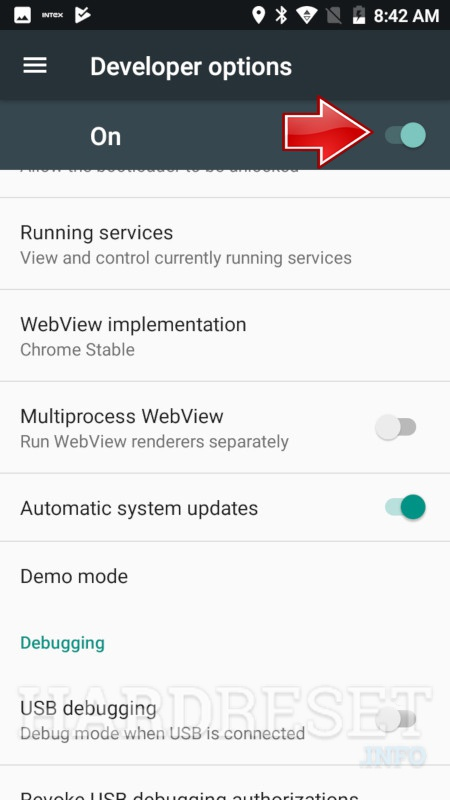 INTEX Indie 22 Developer Options