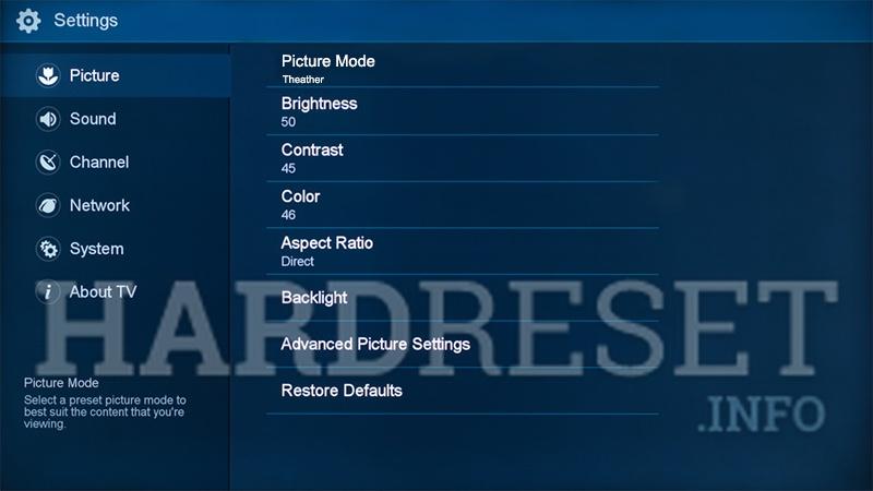 Hard Reset HISENSE H65BE7400 - HardReset info