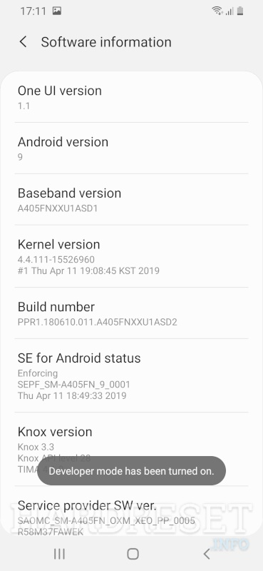 Developer Options SAMSUNG Galaxy A70