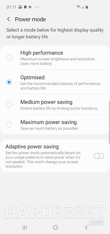 Power mode SAMSUNG Galaxy M10s