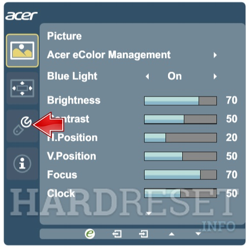 ACER SA240Ybmid Select Settings