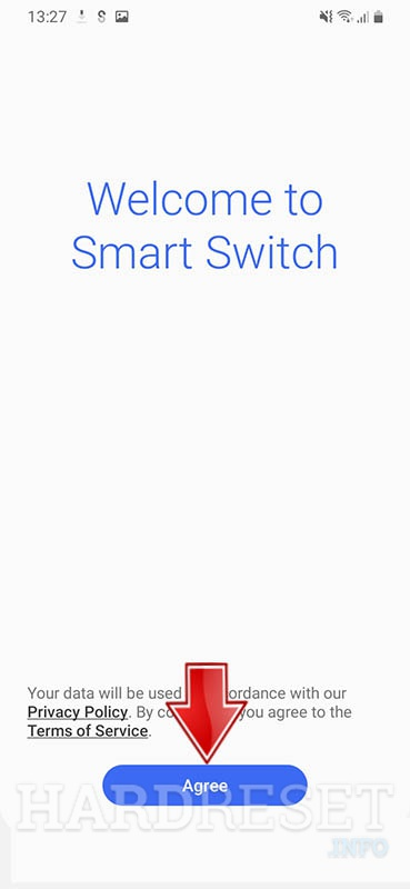 SAMSUNG Galaxy A71 5G SD765G Smart Switch Welcome Screen