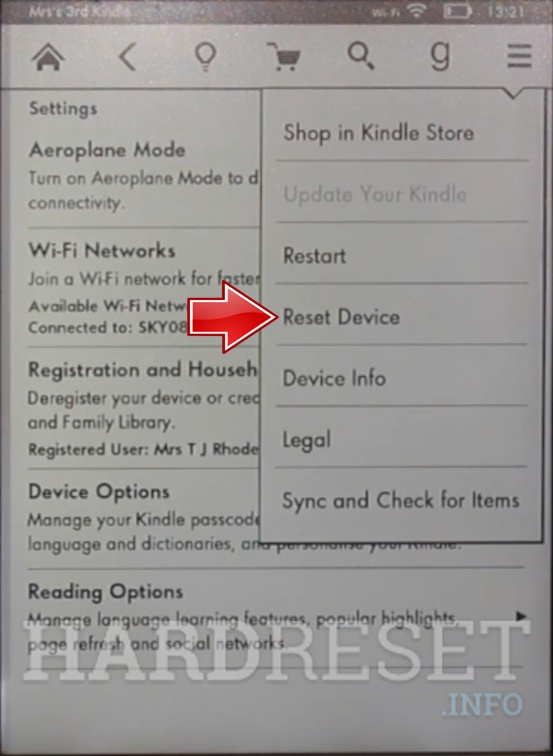 AMAZON Kindle 7 Reset device