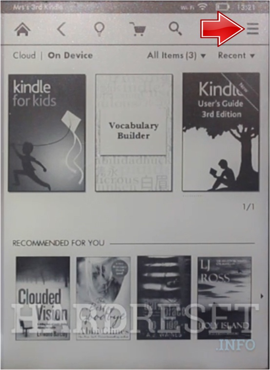 AMAZON Kindle 7 More button