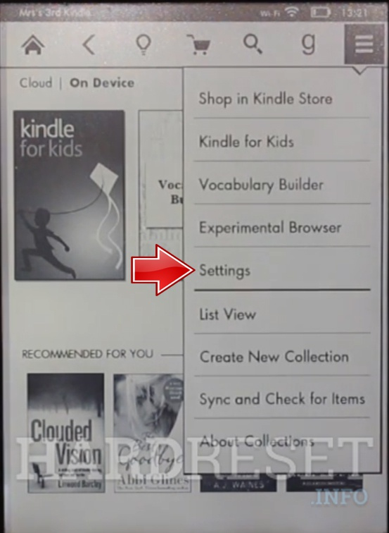 AMAZON Kindle 7 Settings