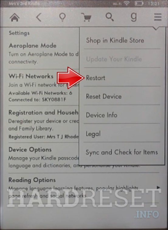 AMAZON Kindle 5 Restart