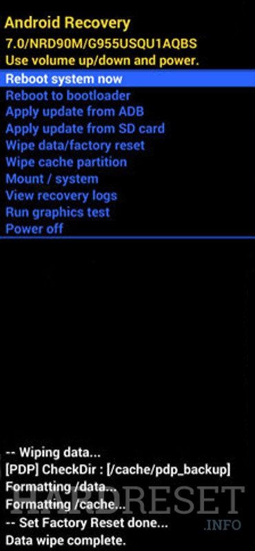 SAMSUNG Galaxy S20 5G Exynos Recovery mode screen