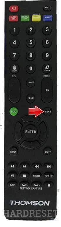 THOMSON 65UD6306 Remote menu button