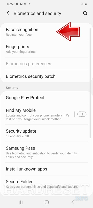 SAMSUNG Galaxy A71 face recognition