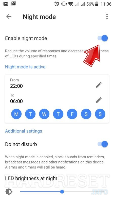 google home app nightmode active