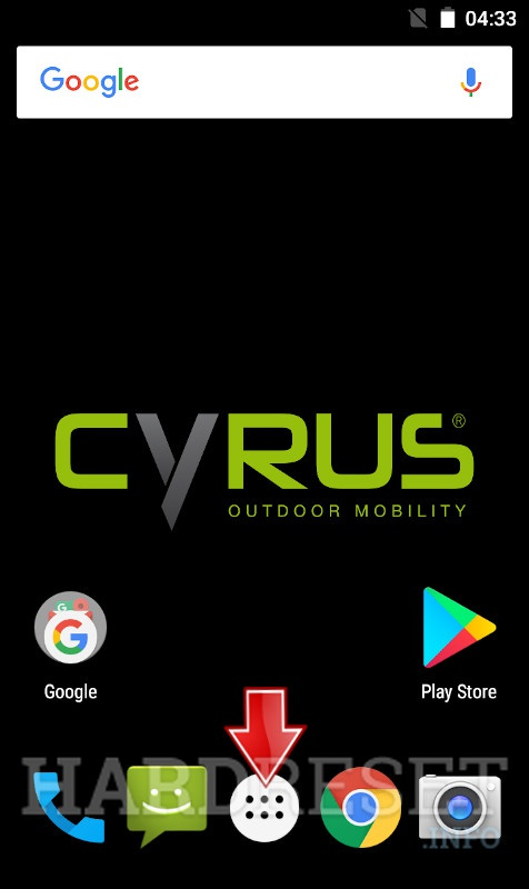 Home screen CYRUS CS22 Xcited