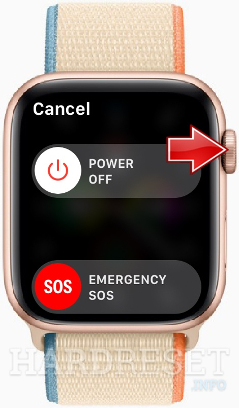 APPLE Watch SE Press and hold the Digital crown when you see Power slider