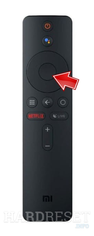 Arrow pointing on OK Button on XIAOMI Mijia 2 Pro DLP Projector remote