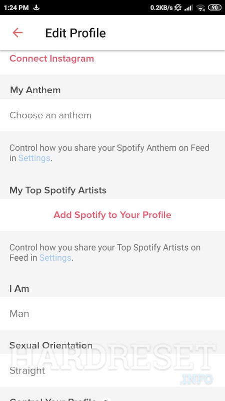 To change top spotify artists on tinder