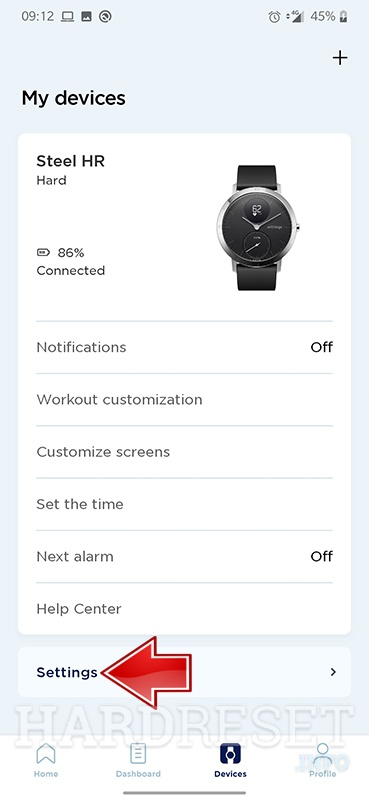 WITHINGS Steel HR Sport Settings