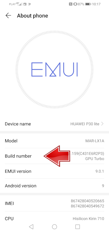 HUAWEI Build Number